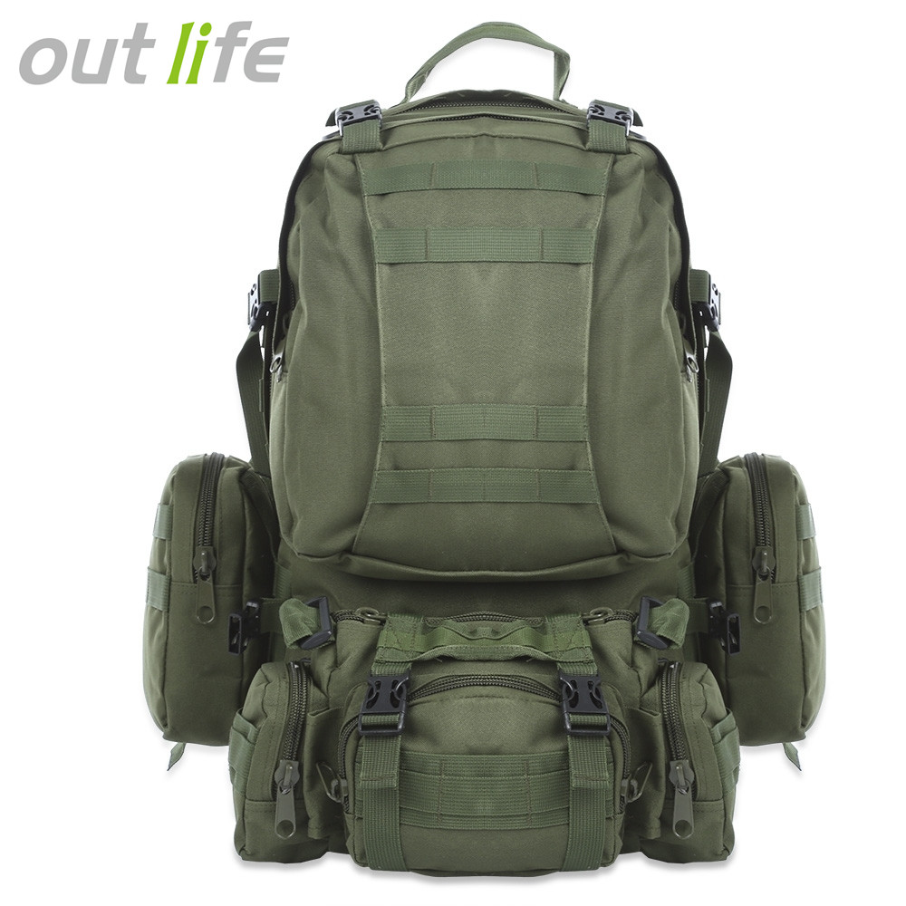 Outlife 50L Outdoor Backpack Molle Military Tactical Backpack Rucksack Sports Bag Waterproof Camping Hiking Backpack For Travel gas stove