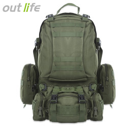 Outlife 50L Mochila Molle Militar Tactical Backpack Mochila Saco de Desporto Ao Ar Livre À Prova D' Água Camping Caminhadas Mochila Para Viagens