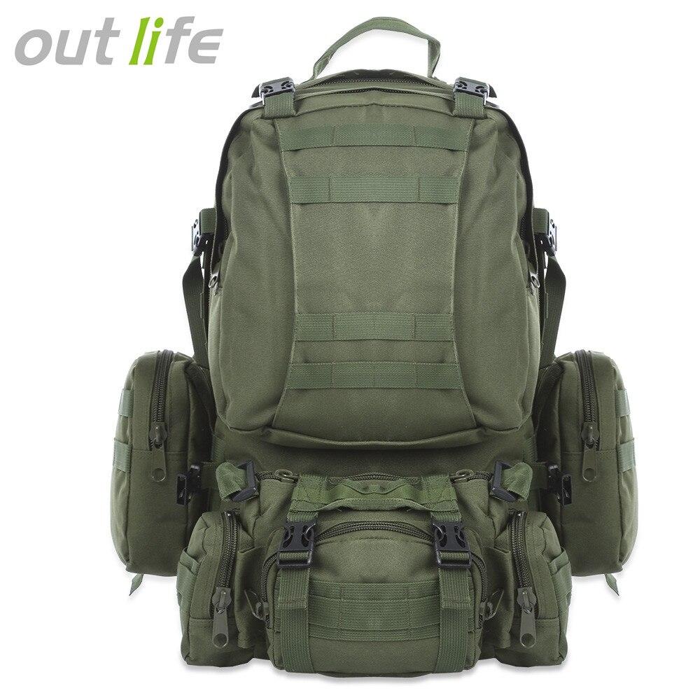Outlife 50L mochila al aire libre Molle mochila táctica militar Mochila deportiva bolsa impermeable Camping senderismo mochila para viaje