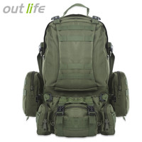 c8aab7dd578 50L Outdoor Backpack Multifunction Sports Sport Bag Molle Tactical Bag  Water Resistant Military Rucksack For Climbing
