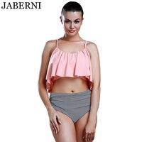 Jaberni Newest Summer Pink Top Ruffle Bikini High Waist Pants Swimwear Women Beachwear Bathing Suit Bikini