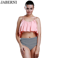 Jaberni Newest Summer Pink Top Ruffle Bikini High Waist Pants Swimwear Women Beachwear Bathing Suit Bikini