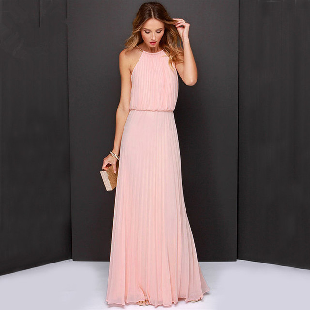 83ca25d8cc409 White Pink Red Blue Black Summer Sexy Maxi Women Night Party Club Wear Dress  Vintage Long Maxi Beach Boho Chiffon Dress Clubwear