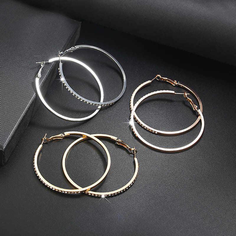 2018 قرط أنيق على شكل طوق مع الأقراط دائرة حجر الراين أقراط بسيطة دائرة كبيرة لون الذهب حلقة أقراط للنساء