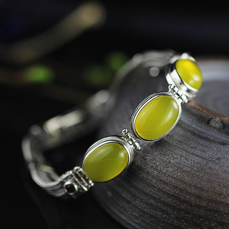 Real Pure 925 Sterling Silver Women Bracelets Bangle With Natural Citrine Garnet Chalcedony Inspirational Bracelets