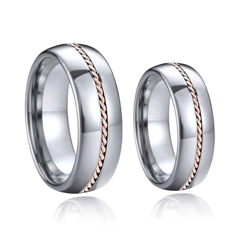 Классические свадебные союзы, обручальные кольца из карбида вольфрама для пар, подарок для мужчин и женщин, розовое золото, крученая инкрус