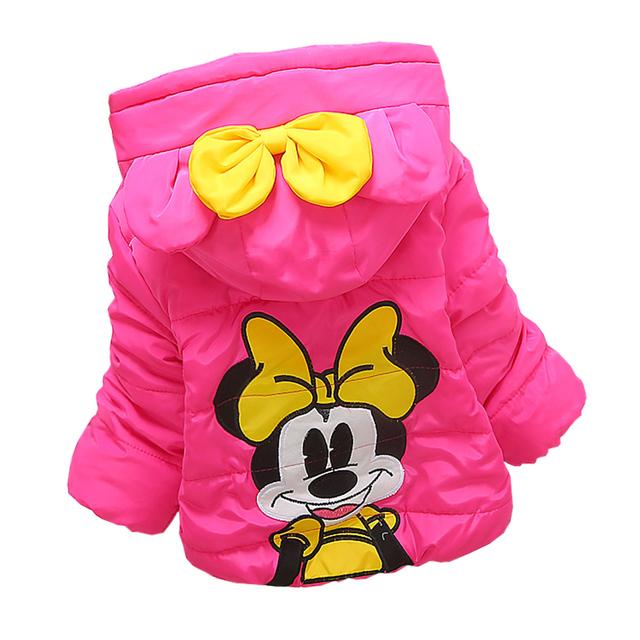 Meninas do bebê Roupas de Alta qualidade Meninas Jacket & Brasão de Inverno, As Crianças Bonito Minnie Moda Outwear & Brasão, Baby meninas Roupas de Inverno