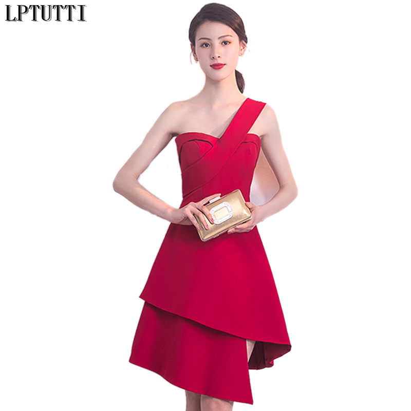 LPTUTTI One-Shoulder New Sexy Woman Plus Size Social Festive Elegant Formal Prom Party Gowns Fancy Short Luxury   Cocktail     Dresses