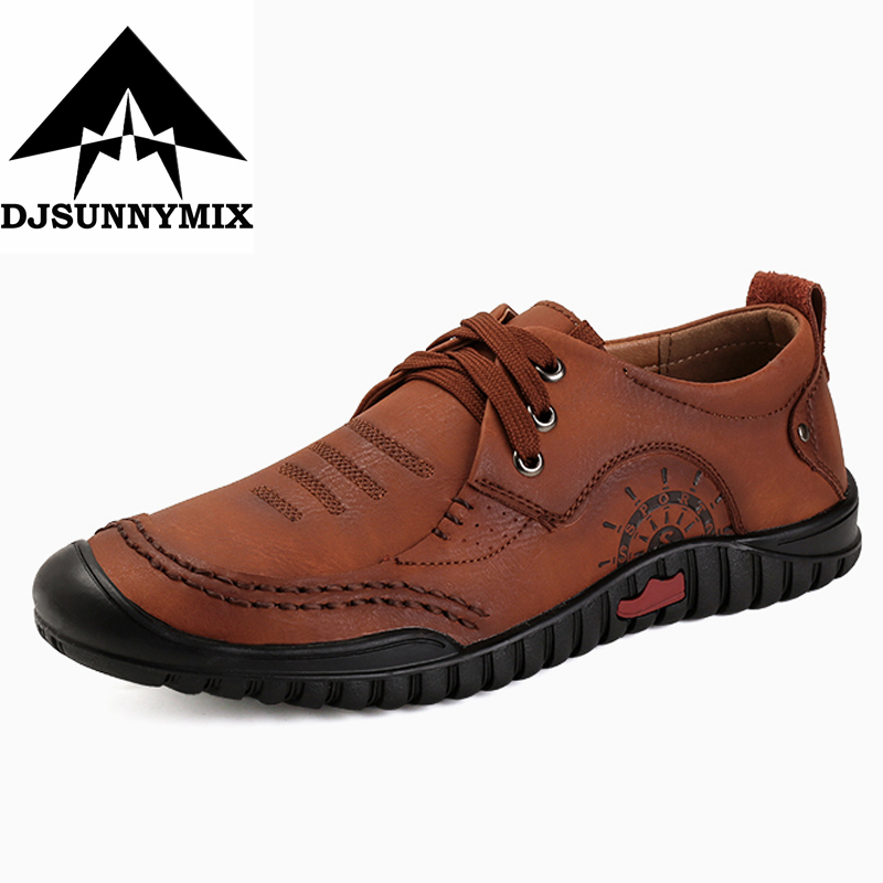 DJSUNNYMIX  2018 New Fashion Men's Genuine Leather Shoes Men Lace Up Oxford Flats Summer Comfortable Handmade Moccasins Men Shoe genuine leather mens oxford shoes breathable men flats casual martin boots shoes 2017 spring autumn summer lace up unisex shoe
