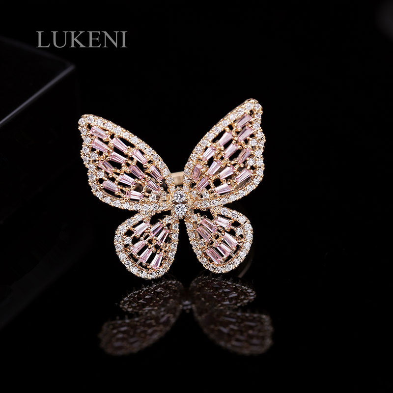 LUKENI Butterfly Ring Cubic-Zirconia Jewelry Women White/gold-Color for Top-Quality Trendy