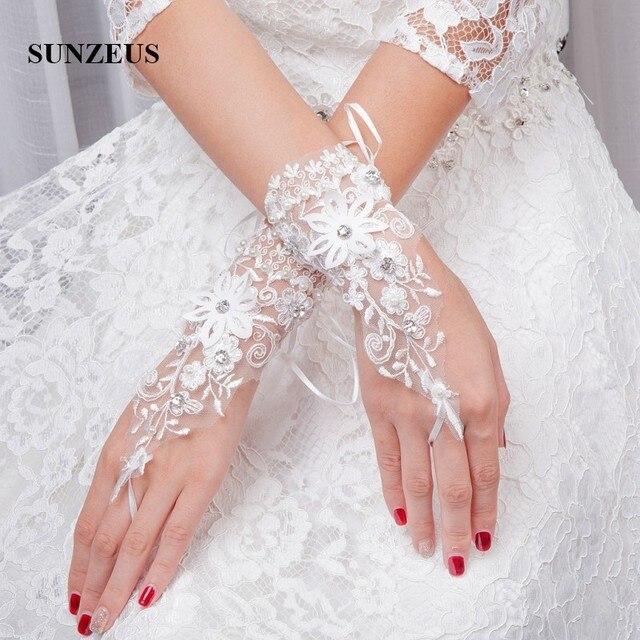 Wrist Length Short Wedding Gloves For Bridal Fingerless With Beaded Flowers Bride White