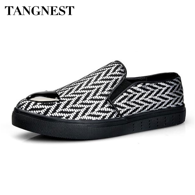 Tangnest Fashion Sequined Toe Men's Shoes Casual Paisley Slip-on Rubber Shoes Men Comfortable Flat Loafers Black Sliver XMR2639 msk women s sequined paisley print 2pc jersey dress jacket set 14w black red