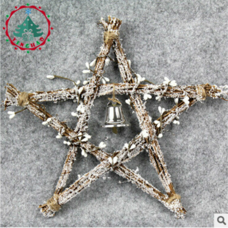 2018 New Arrival Pentagram Christmas Pendant & Drop Ornaments Wtih Bell Rattan Christams Decoration For Home Or Party ...