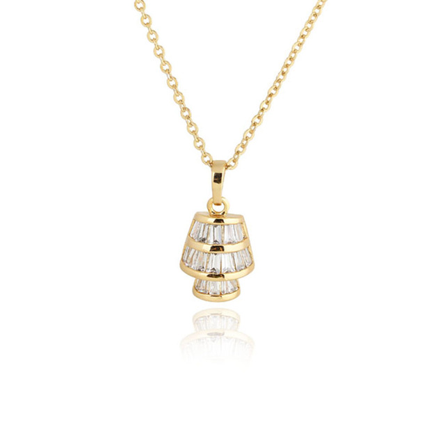 Lamp shaped 18k gold plated pendant necklace with austrian zircon lamp shaped 18k gold plated pendant necklace with austrian zircon golden mozeypictures Image collections