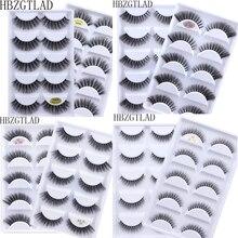Cílios postiços 3d de vison 5 pares, extensão de cílios suaves para maquiagem