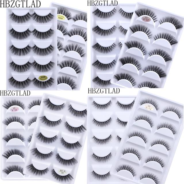 Mới 5 Đôi Giả Chồn Lông Mi 3D Tự Nhiên Lông Mi Giả 3D Chồn Hàng Mi Mềm Mại Cây Nối Mi Trang Điểm Cilios
