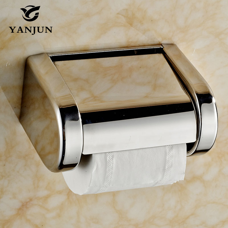 Yanjun Stainless Steel Toilet  Paper Roll Holder With  Flap  Wall Mounted Paper Towel Holder Bathroom Accessories YJ-8814 купить