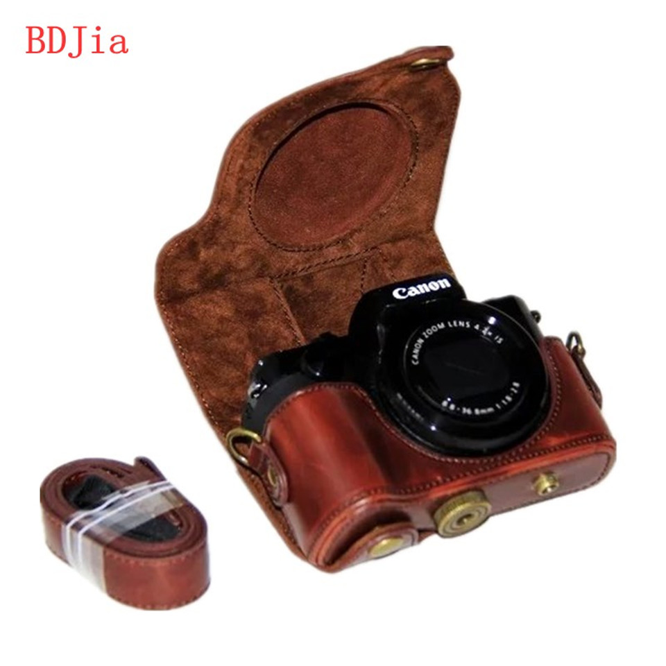 Neu Pu Leder L Haut Kamera Tasche Fr Canon Powershot G5x Pocket Mit Schultergurt 3 Farben Whlen Freies Verschiffen In