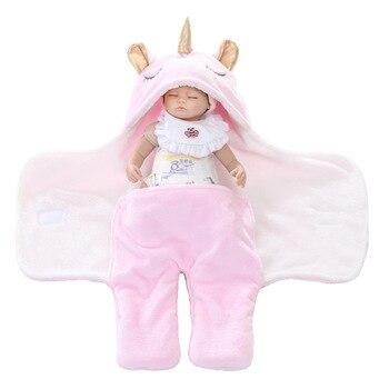 Warm Fleece Unicorn Design Baby Blanket Sleeper 3