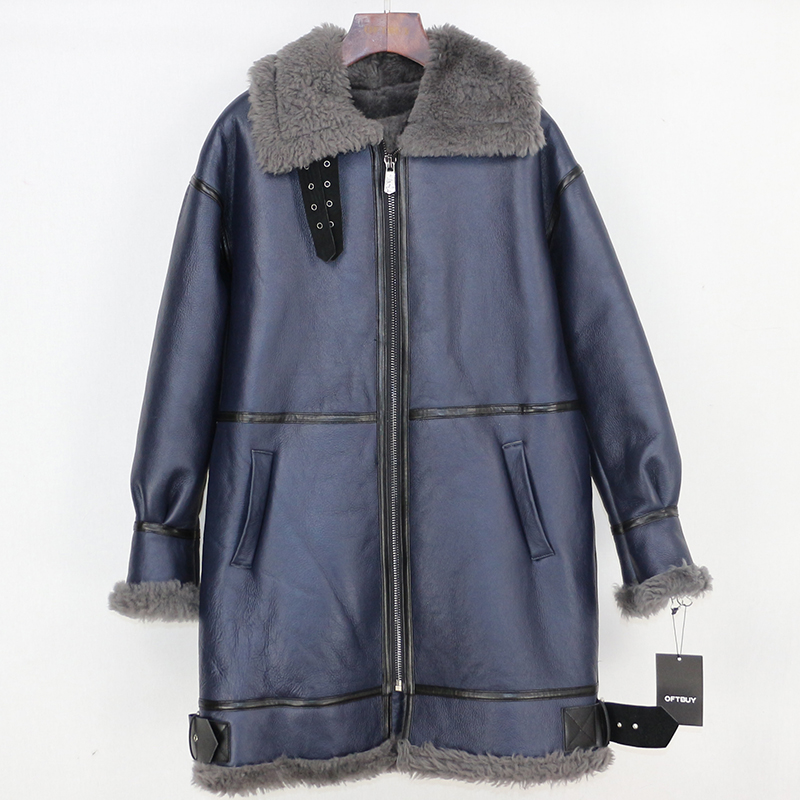 OFTBUY 2019 冬のジャケットの女性本物の毛皮のコート本革ナチュラルメリノ羊の毛皮ライナー両面毛皮ストリートパーカー  グループ上の レディース衣服 からの 本物の毛皮 の中 2