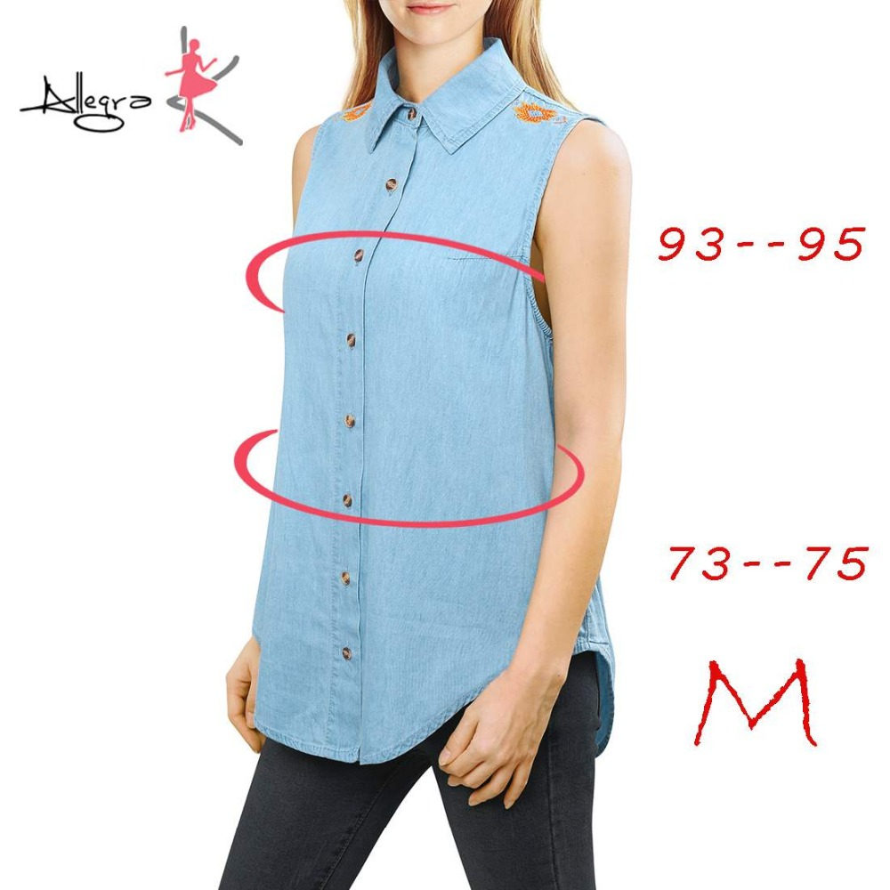 Aliexpress.com : Buy Allegra K Women Embroidered Sleeveless Denim ...
