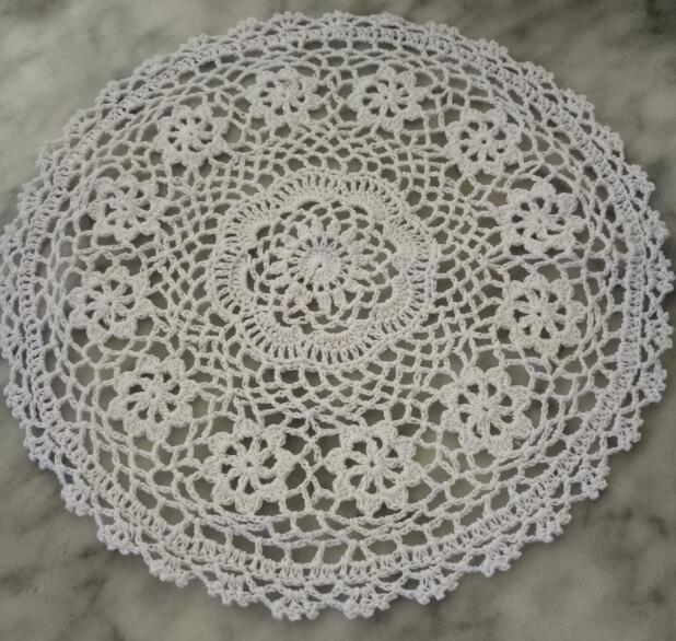 HOT cotton round placemat cup coaster mug dining kitchen coffee table place mat New Year crochet Glass doily tea Christmas pad in Mats Pads from Home Garden