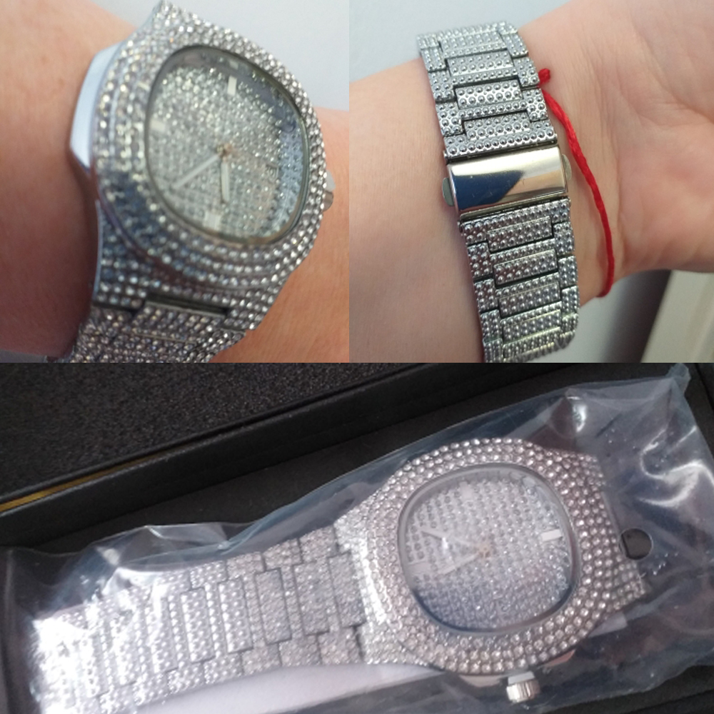 drop shipping ICE-tone diamond watch for men silver stainless steel band mens watches (8)