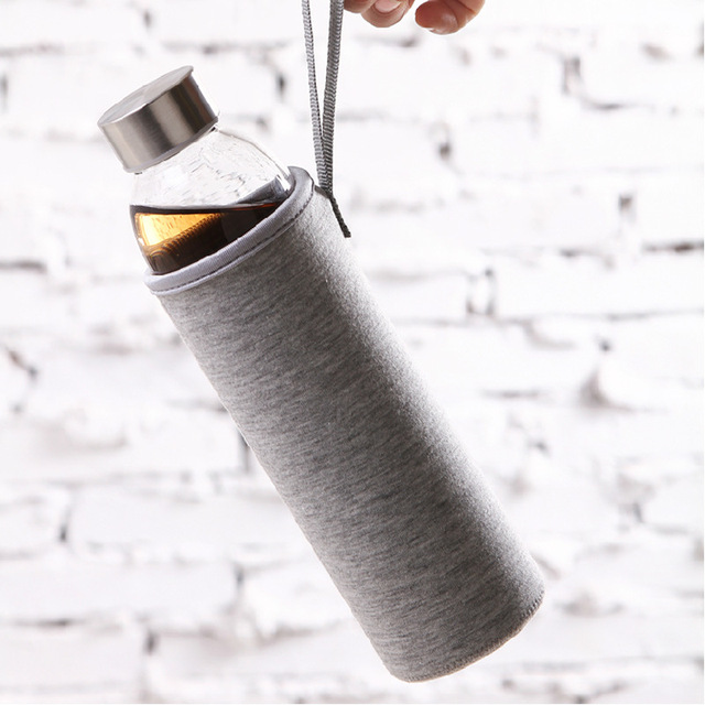 Glass Water Bottle in Cotton Cloth Case