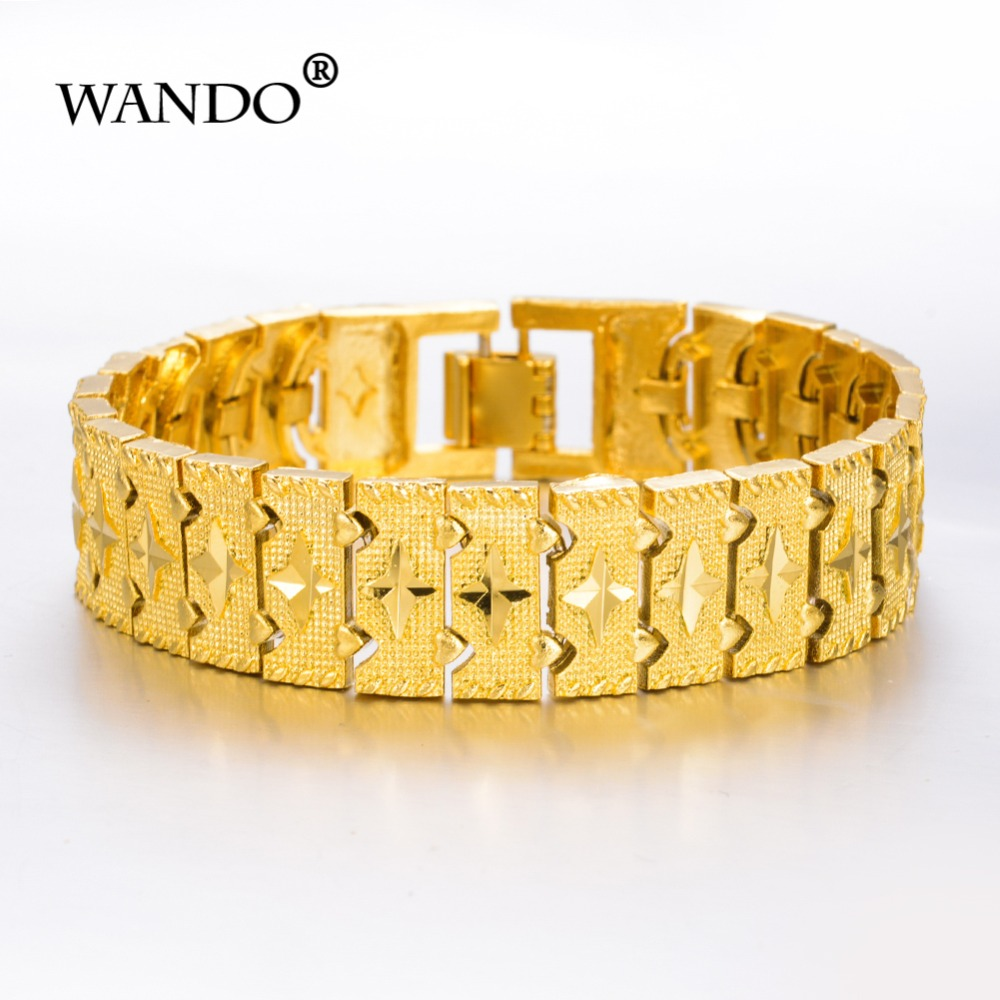 WANDO Men Bracelet Jewelry Hip hop style High quality gold Color preserving Persistence MEN gift  wb32