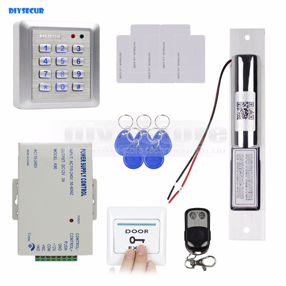 DIYSECUR  RFID 125KHz Reader Password Keypad Access Control System Full Kit Set + Electric Bolt Lock + Remote Controller танковый таран машина пламенем объята