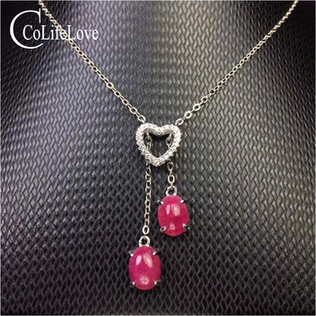 Fashion 925 Silver Ruby Heart Pendant 2 Pieces Natural Ruby Silver Pendant Solid 925 Silver Ruby Jewelry Birthday Gift for Woman