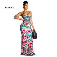 Echoine Boho Dress Women National Style Floral Print Halter Backless Party Evening Floor-Length Slim Sexy Bodycon Female Vestido