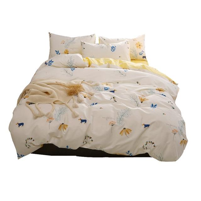 Bedding Set Dog Bed Sheets Animal Bedding Floral Duvet Cover Queen Bedding  Twin Flowers Cotton Duvet