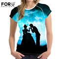 FORUDESIGNS 2017 Fashion Women Tshirts 3D Mermaid Snow White Beauty and Beast Printing Girls Casual Short Sleeves T shirt Women