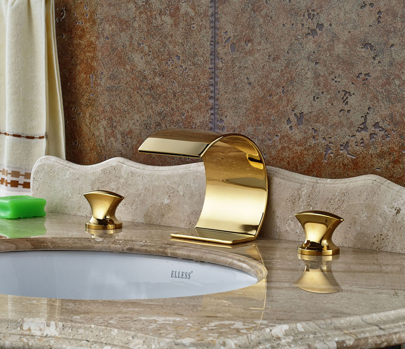 Gold Polished Deck Mounted 3PCS Waterfall Spout Bathtub Faucet 3 Holes Mixer Tap цена