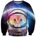 new space cat sweatshirts 3D galaxy astronaut kitten crewneck sweatshirt men women Brand clothing hoodie pullovers