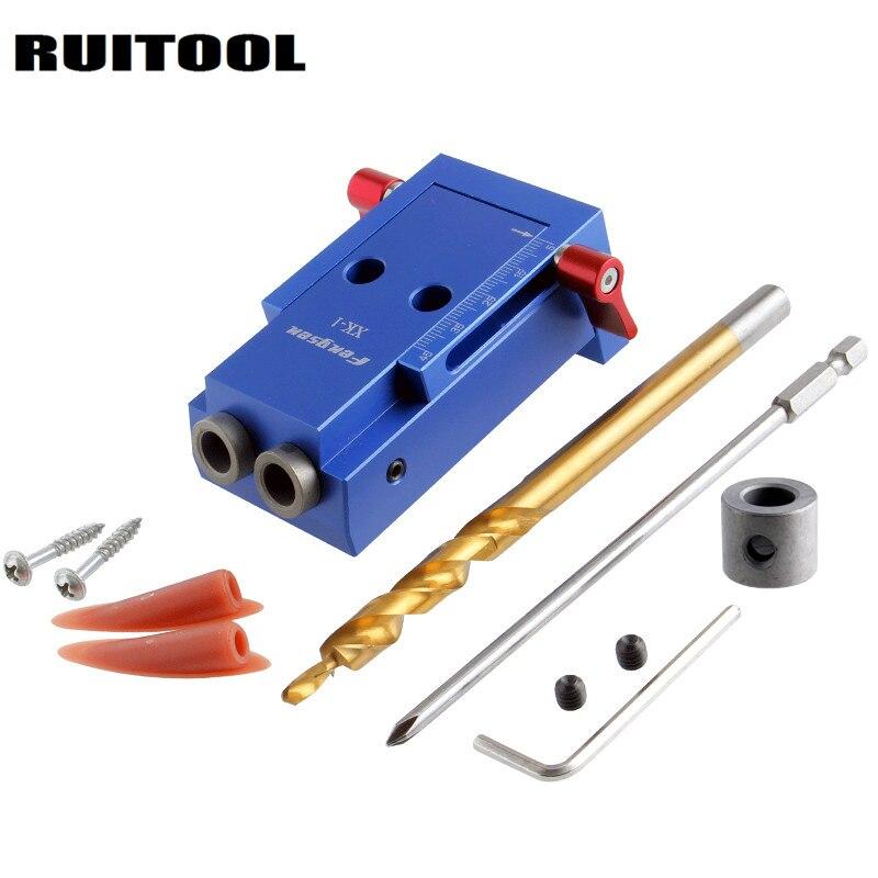 RUITOOL мини карман отверстие джиг комплект Системы с сверло отвертка для деревообрабатывающие столярных наборы инструментов