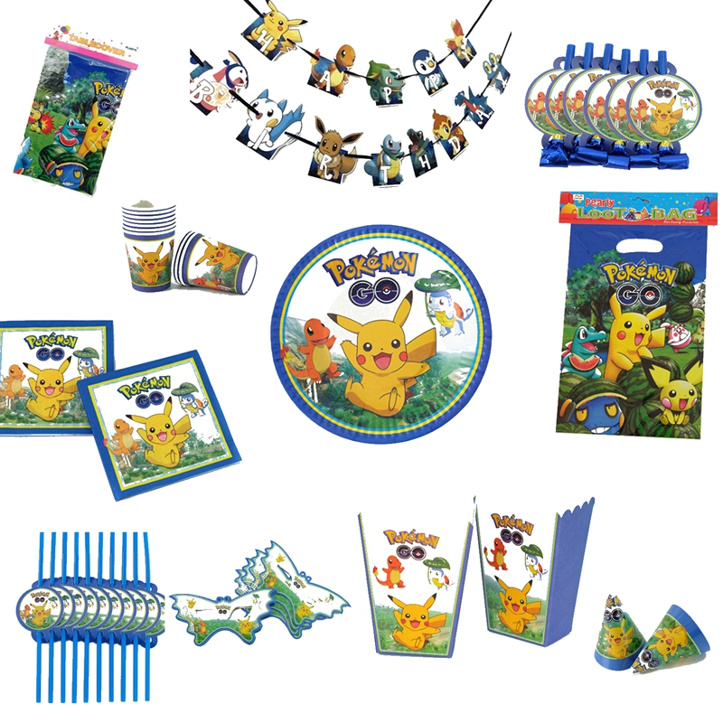 Pokemon-Pokemon-Paper-tableware-Plate-Cup-Fork-Spoon-Tablecloth-Topper-Balloon-Favor-For-Kid-s-Holiday