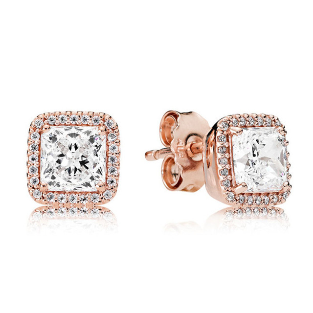 100% 925 Sterling Silver Pandora Earrings For Women Rose Gold Timeless  Elegance Earring Studs Fine Original Europe Jewelry Gift
