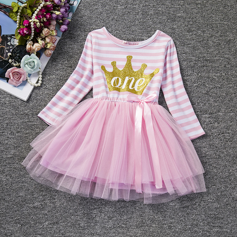 Toddler Baby Long Sleeve Winter Dress Girl 1st 2nd Birthday Outfits Tutu Pink Infant Party Dress For Girl Baptism Bebes Vestidos