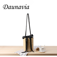 DAUNAVIA Brand Shoulder bucket woven bag Ribbon solid color handmade straw bag summer vacation Famous designer beach leisure bag