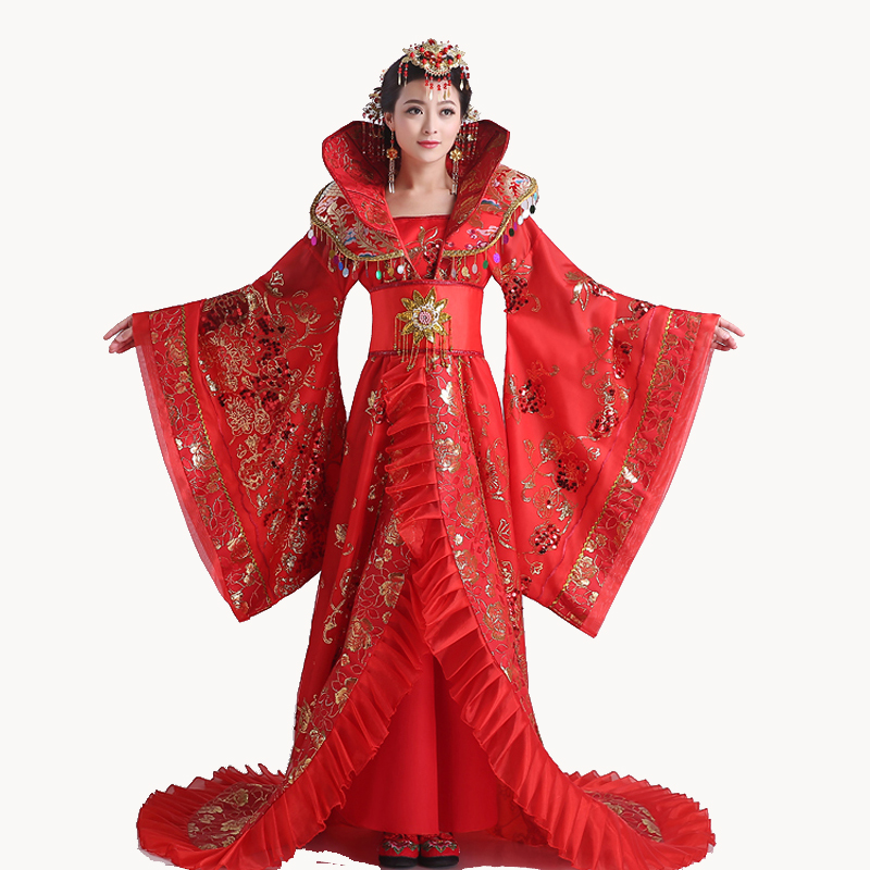 High Quality Women stand collar noble Draggle-tail Dress queen of the tang dynasty clothing Chinese ancient costum