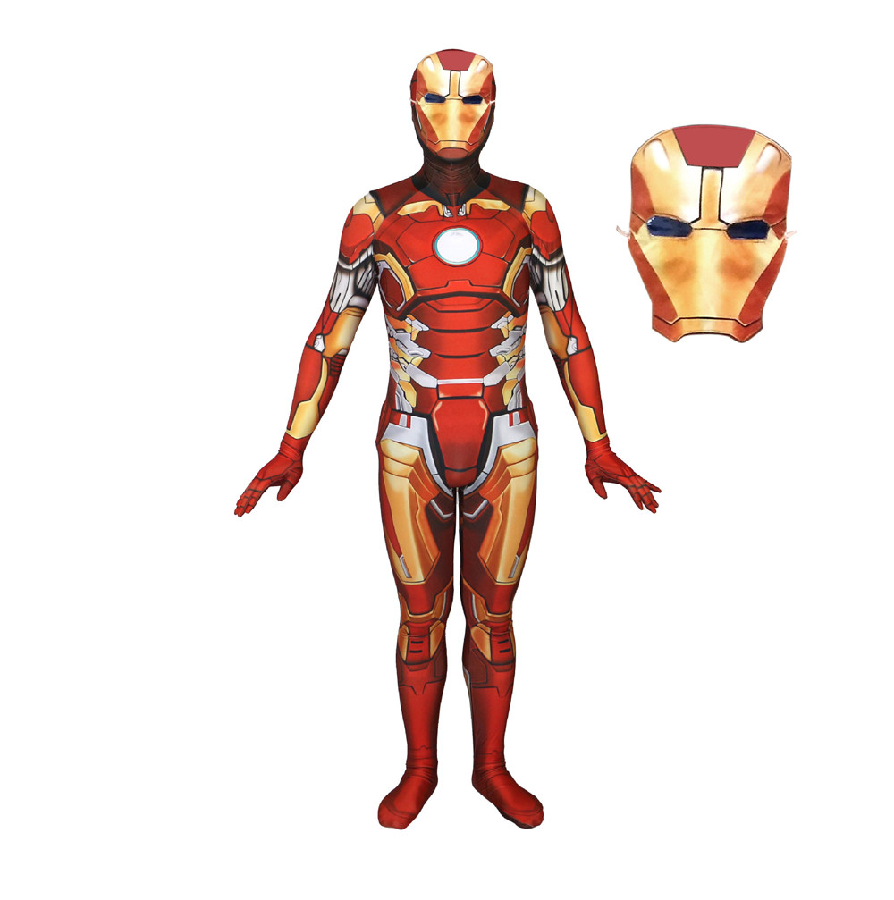 Movie Iron Man tony stark character Cosplay Costume Tony Stark Avengers Lycra Adult Zentai Suits Zip Iron men costume