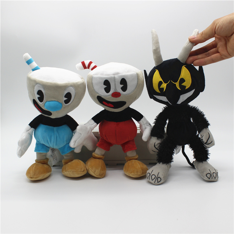 Free Shipping 1 piece Original Game Cuphead Plush Toys Red Blue Cuphead and Villain BOSS ...