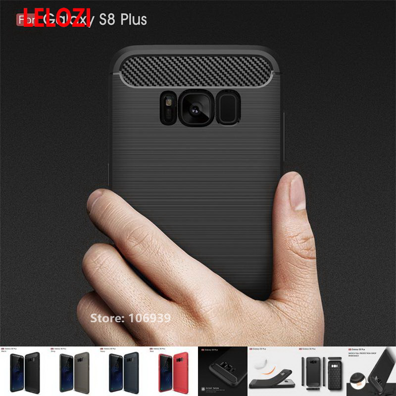 LELOZI Soft TPU ShockProof Armor Rugged Carbon Fiber Brushed Men Phone Mobil Coque Etui Case For Samsung Galaxy S8 Plus S8Plus