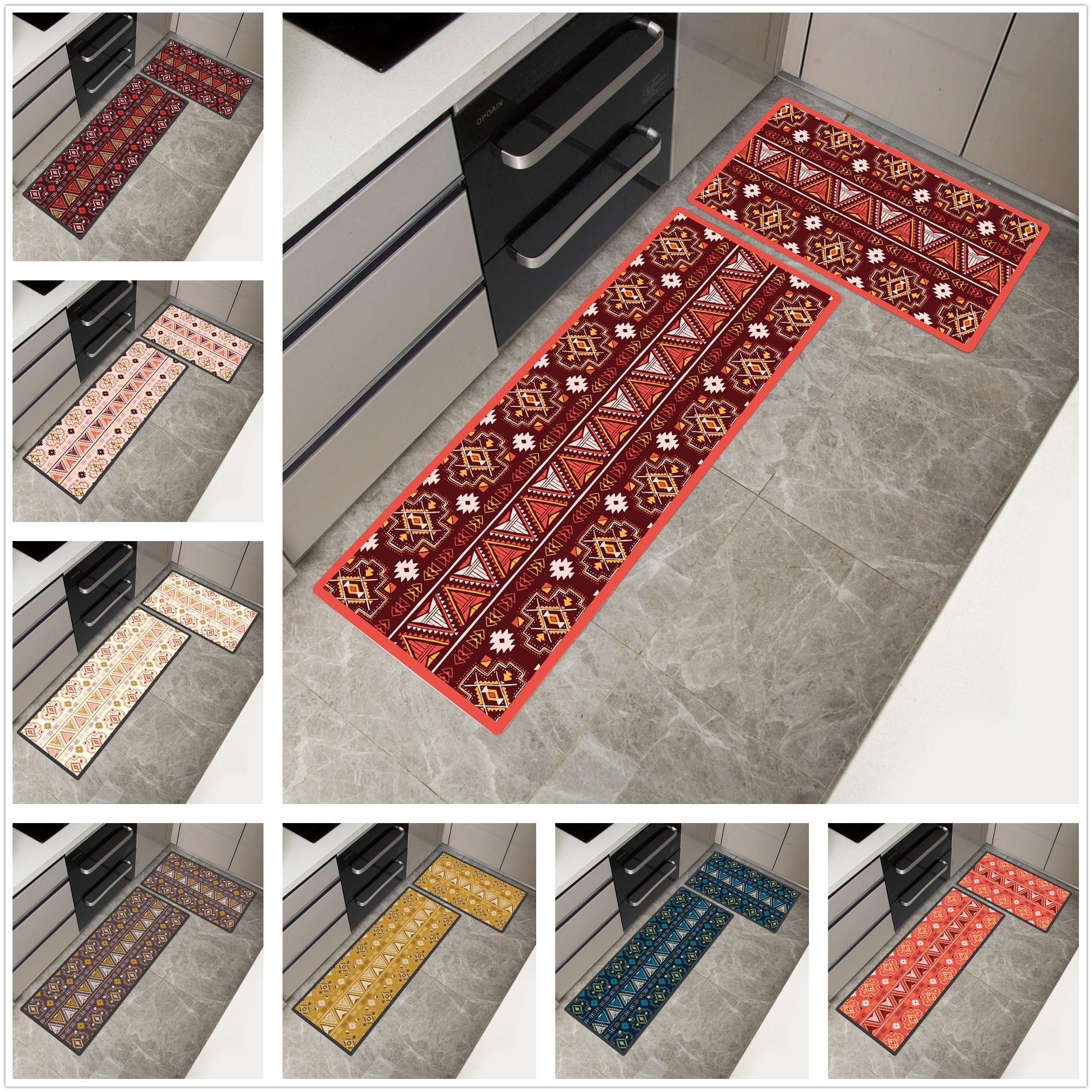 African Pattern Print Home Mat Waterproof Kitchen Carpet  Non slip Bath Mats Bed Front Mats  Floor Mat kitchen Rug-in Mat from Home & Garden