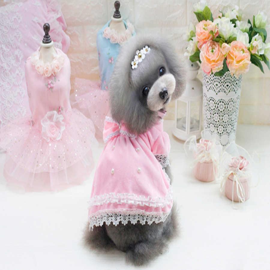 Летняя одежда для щенка собак, свадебное платье, Спортивная вшей Одежда для собак домашних животных в стиле «Принцесса» Ropa Одежда для собак платье девочек 50B0065