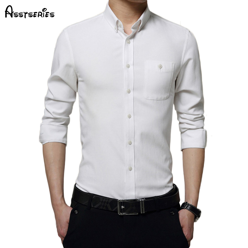 New Spring Long Sleeved Shirt Mens Pure Cotton Shir Wholesale Slim Fit Business Shirt White Color Shirt Size M-5XL D35