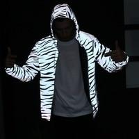 Aolamegs Men Jacket Hip Hop Windbreaker Reflective Jacket Zebra Stripe Fluorescent Coat Hooded Couples Thin Hoodie Cardigan