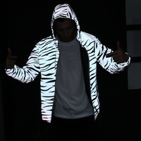 Aolamegs Men Jacket Hip Hop Windbreaker Reflective Jacket Zebra Stripe Fluorescent Coat Hooded Couples Thin Hoodie Cardigan